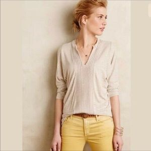 Anthropology Dolan Tan Pleat Line Blouse